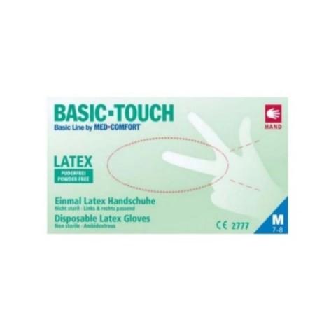 Εξεταστικά γάντια Latex BASIC-TOUCH χωρίς πούδρα (100τμχ.)