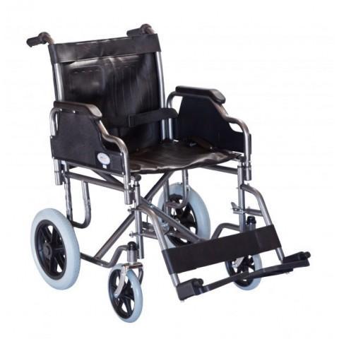 Αναπηρικό αμαξίδιο με μεσαίους τροχούς και δερμάτινο κάθισμα