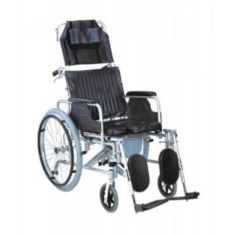 Αναπηρικό αμαξίδιο αλουμινίου με ανακλινόμενη πλάτη & δοχείο wc