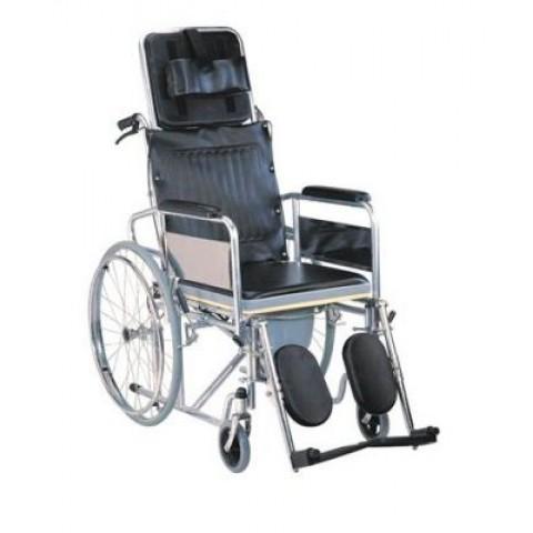 Αναπηρικό αμαξίδιο μεταλλικό με ανακλινόμενη πλάτη & δοχείο wc