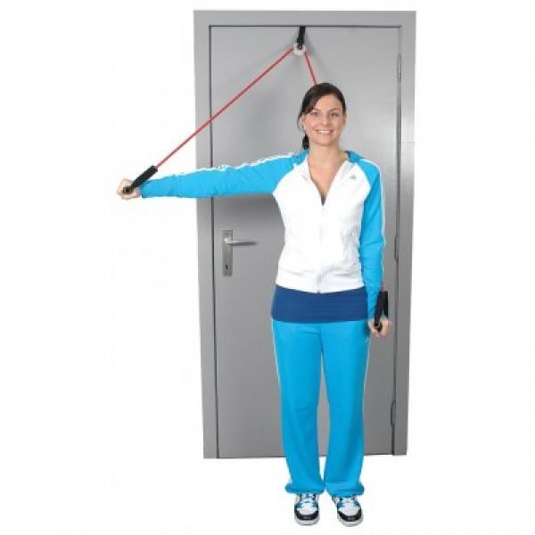 Τροχαλία πόρτας για ασκήσεις ώμων με ελαστικό σωλήνα