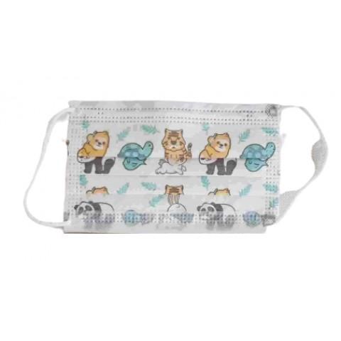 Μάσκα παιδική 3ply με λάστιχο EN 14683 σχέδιο με ζωάκια
