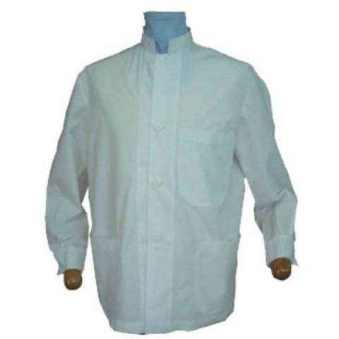 Μπλούζες λευκές κοντές -σύνθεση 60% βαμβάκι-40% πολυεστέρας όρθιος γιακάς ανδρικές