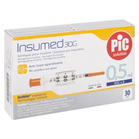 Σύριγγες με βελόνα Pic 0,3ml Ινσουλίνης  (G-30/G-31) 30τμχ