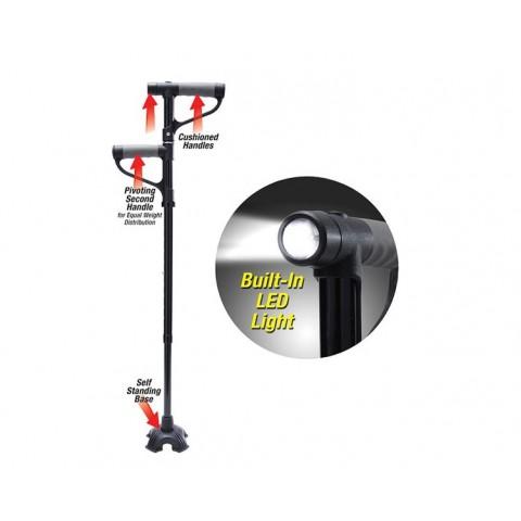Πτυσσόμενο Mπαστούνι Με Δύο Λαβές, Ρύθμιση Υψους & Φακό LED