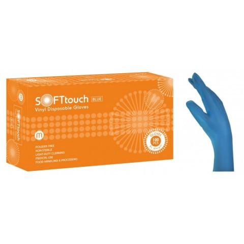 Γάντια βινιλίου SoftTouch μπλε χωρίς πούδρα (100 τεμάχια)