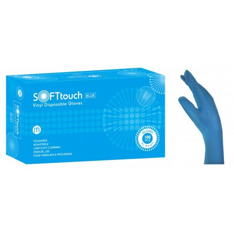 Γάντια βινιλίου SoftTouch με πούδρα σε λευκό (100 τεμάχια)