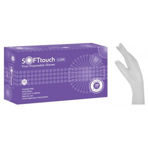 Γάντια βινιλίου SoftTouch λευκό χωρίς πούδρα (100 τεμάχια)