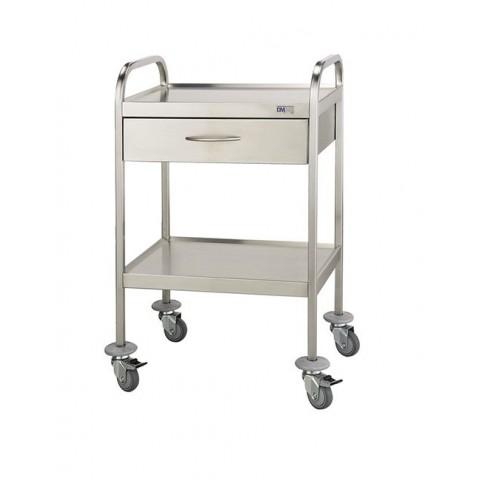 Τροχήλατο τραπεζάκι νοσηλείας από ανοξείδωτο ατσάλι – INOX 304.