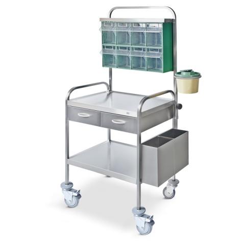 Τροχήλατο τραπεζάκι νοσηλείας  από ανοξείδωτο ατσάλι - IΝΟΧ 304.