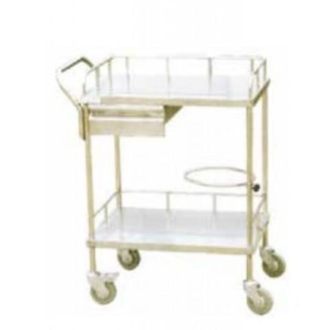 Τραπέζι inox νοσηλείας με 2 ράφια και συρτάρι