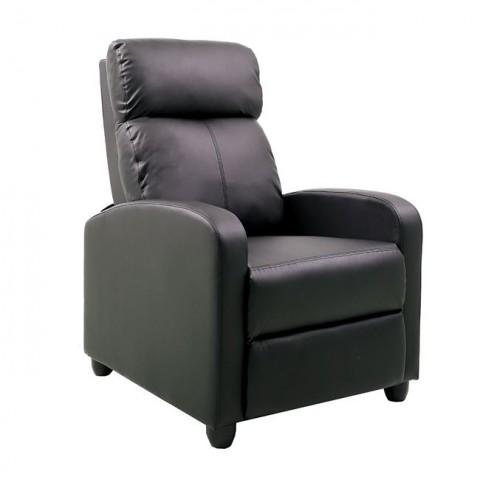 Porter Πολυθρόνα Relax Σαλονιού - Καθιστικού Pu Μαύρο